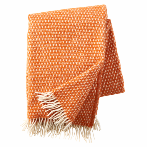 Knut Brushed Lambs Wool Throw, Orange - One Available
