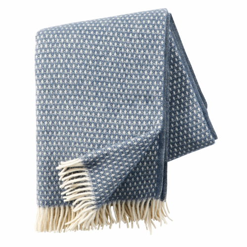 Knut Brushed Lambs Wool Throw, Smokey Blue