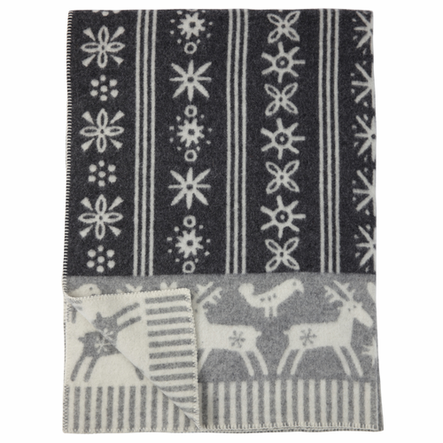 Lappland ECO Lambs Wool Blanket, Dark Grey/Light Grey