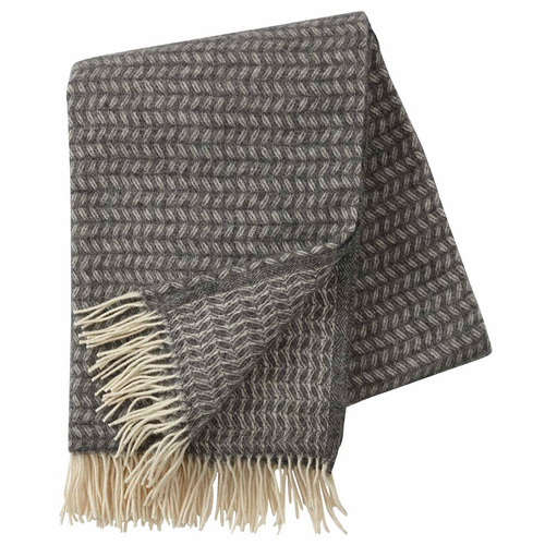 Leaf Brushed Merino & Lambs Wool Throw, Grey