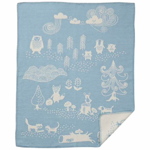 Little Bear Organic Brushed Cotton Baby Blanket, Blue