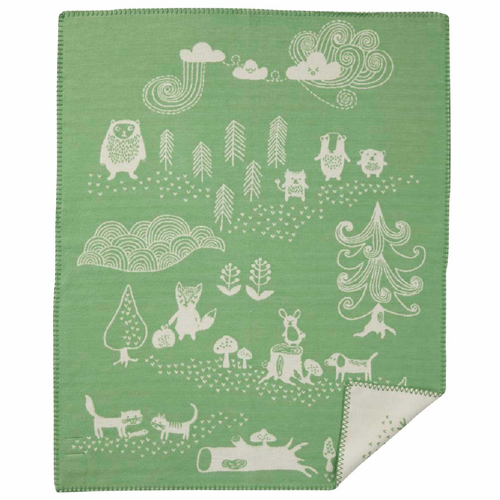 Little Bear Organic Brushed Cotton Baby Blanket, Green