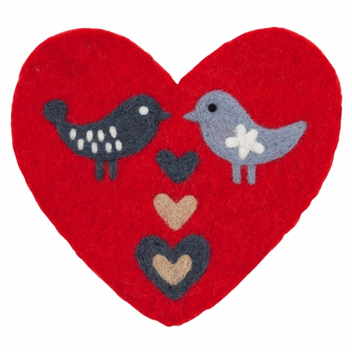 Klippan Love Birds Felted Wool Trivet