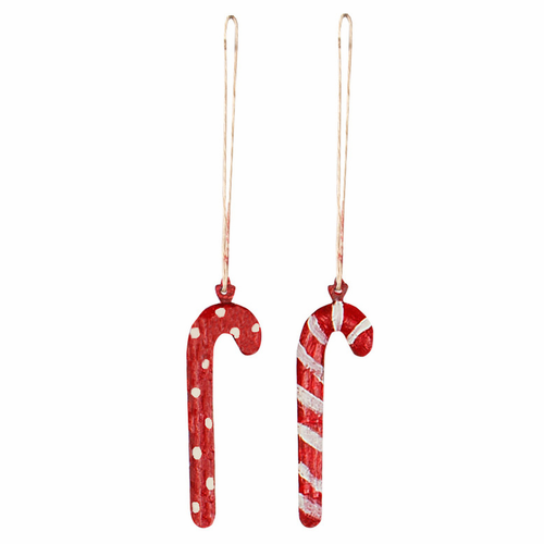 Maileg Danish Metal Candy Cane Ornaments, Set of 2