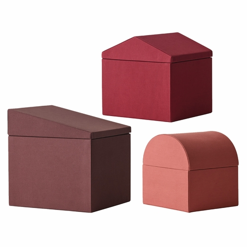 Menu Modern Houses, Set of 3, Red