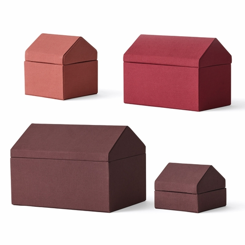 Menu Traditional Houses, Set of 4, Red