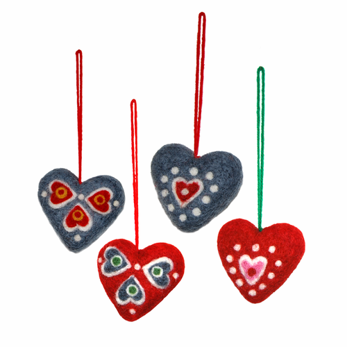 Mixed Hearts Felted Wool Ornaments, Set of 4 (2 Left)