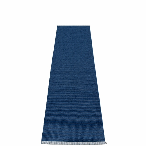 Mono Plastic Rug - Dark Blue/Denim, 2' x 8 1/4'