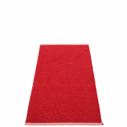 Pappelina Mono Plastic Rug - Dark Red/Red, 2 3/4' x 5 1/4'