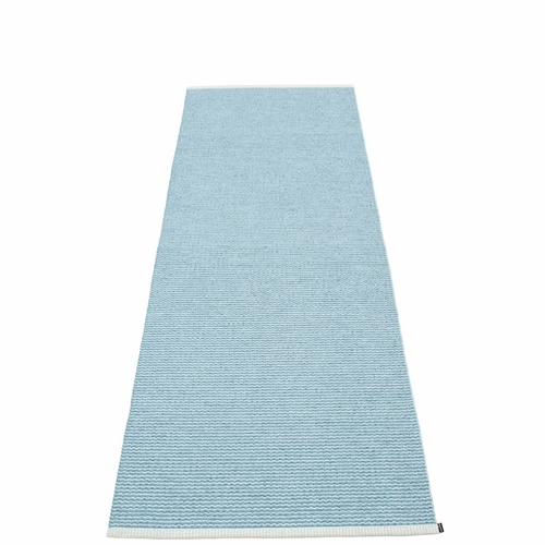 Pappelina Mono Plastic Rug - Misty Blue/Ice Blue, 2 3/4' x 8 1/2'