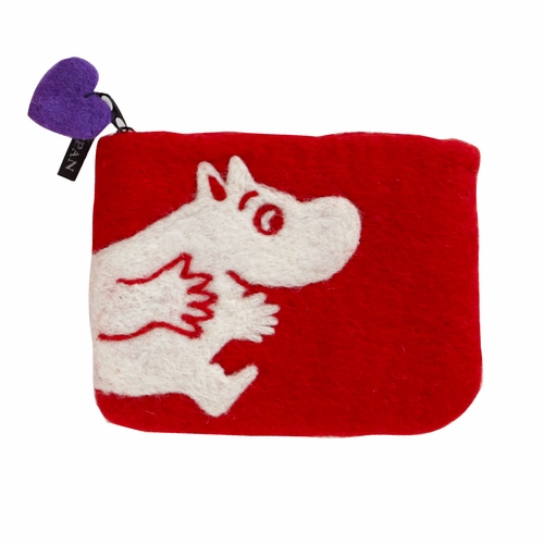 Moomin Felted Wool Purse, Red