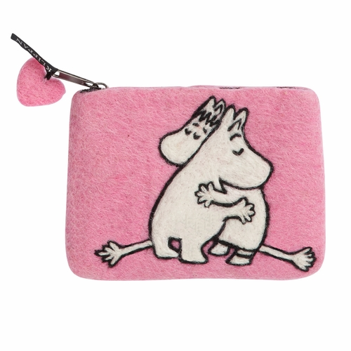 Moomin Pink Love Felted Wool Purse