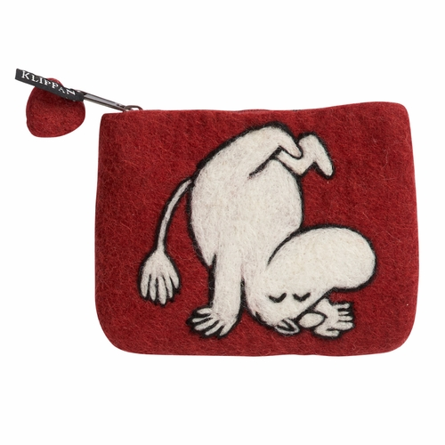 Moomin Up & Down Felted Wool Purse, Deep Red
