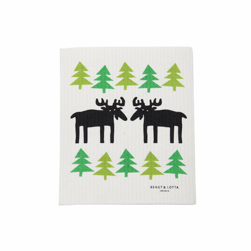 Moose in the Forest Dishcloth, Set of 2