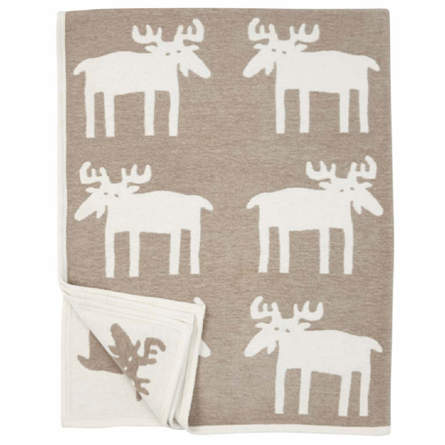 Moose Organic Cotton Chenille Blanket, Beige