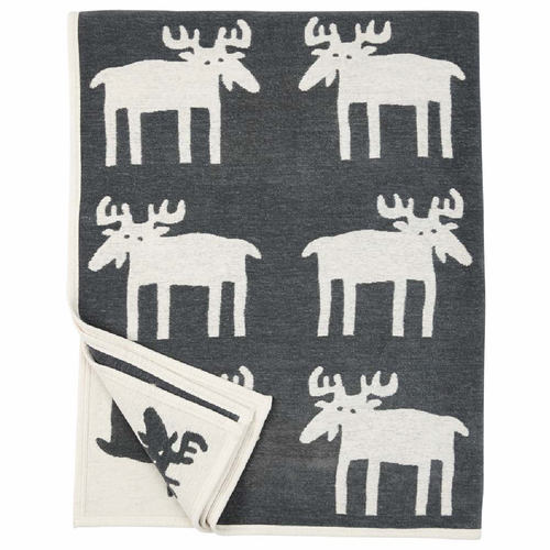 Moose Organic Cotton Chenille Blanket, Dark Grey