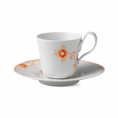 Multi-Colored Elements High Handle Cup and Saucer, Tangerine