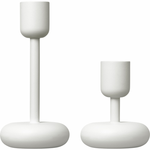 "Iittala Nappula 2-Piece Set, White - 4.25"" & 7.25"""