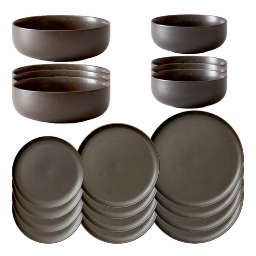 New Norm Dinnerware Starter Set, 20-Piece, Dark Glazed