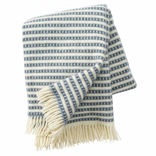 Olle Brushed ECO Lambs Wool Throw, Smokey Blue