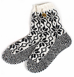 Original Selbu Norwegian Hand Knitted Socks - White & Black - One Size