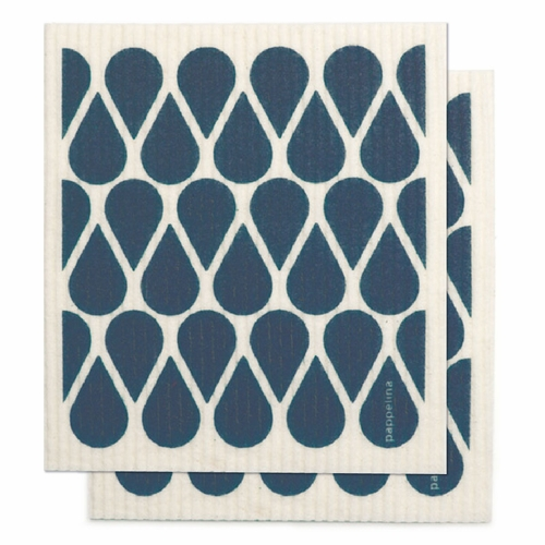 "Pappelina Otis Dishcloth, Set of 2 - Ocean Blue, 7"" x 8"""