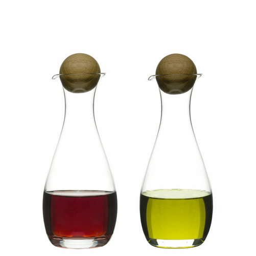 Oval Oak Oil/Vinegar Carafe w/ Oak Stopper, Set of 2