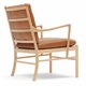 OW149 Colonial Chair, Oiled Oak, Hand-Cane Seat, Sif 95 Leather Cushions
