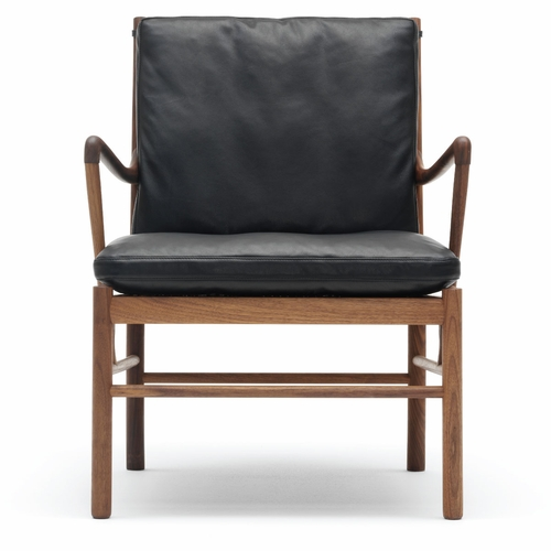 Carl Hansen & Son OW149 Colonial Chair, Oiled Walnut, Hand-Cane Seat, SIF 98 Leather Cushions