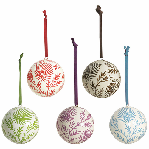 Paper Maché Ball Ornaments - SOLD OUT
