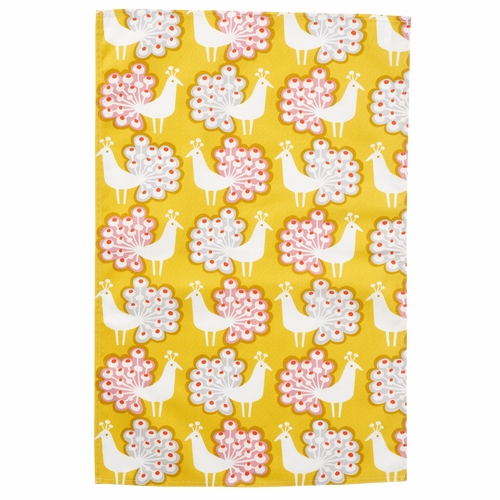 Peacock Kitchen Towel, Yellow