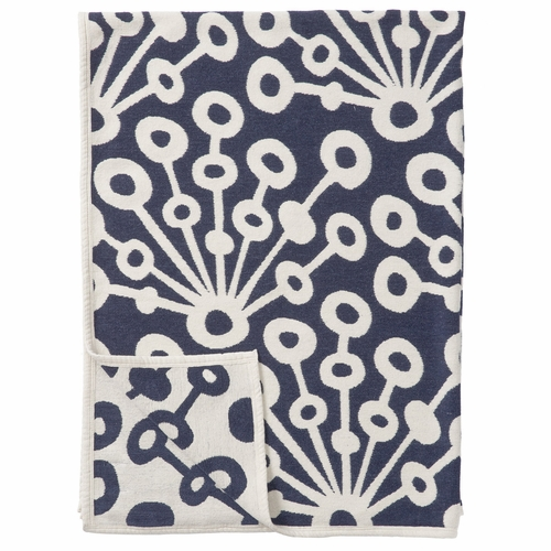 Peacock Organic Cotton Chenille Blanket, Navy