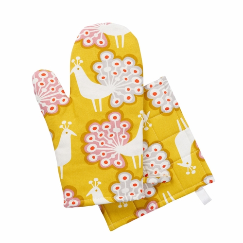 Peacock Oven Glove & Potholder Set, Yellow