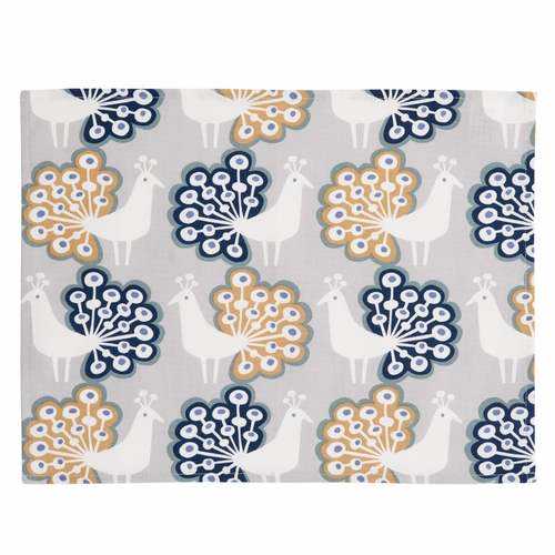 Peacock Placemats, Grey, Set of 4