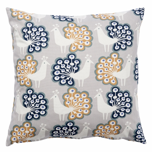 Peacock Printed Cushion Cover, Grey