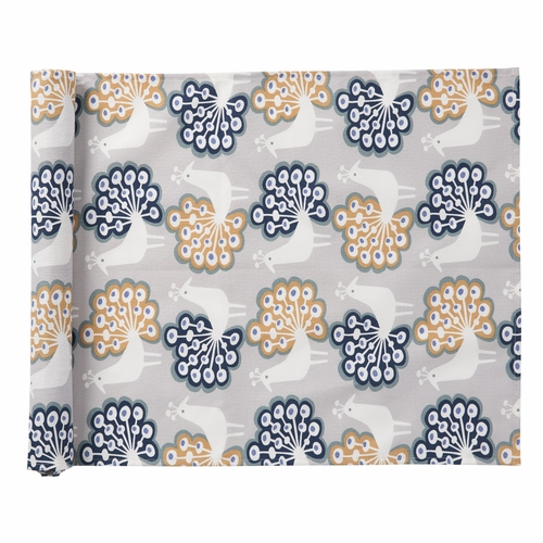 Peacock Table Runner, Grey