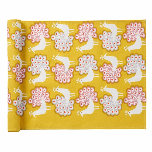Peacock Table Runner, Yellow