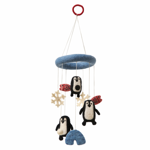 Penguin Hand Felted Wool Mobile