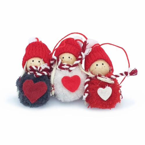 Pixy Pompon Jingle Ornaments, Set of 3