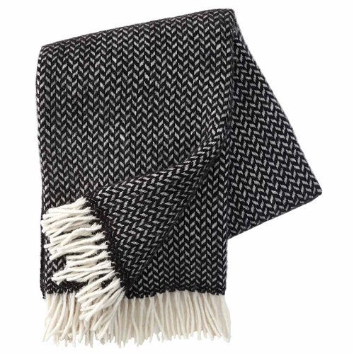 Klippan Polka Brushed Lambs Wool Throw, Black