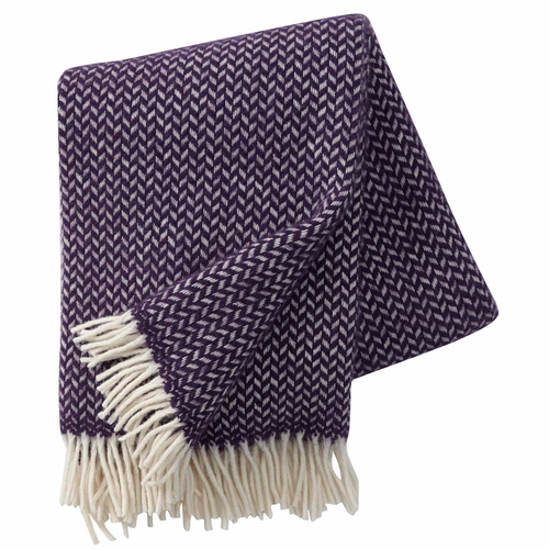 Polka Brushed Lambs Wool Throw, Lilac