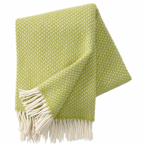 Polka Brushed Lambs Wool Throw, Lime