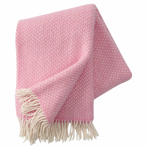 Polka Brushed Lambs Wool Throw, Pink