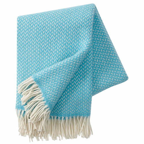 Polka Brushed Lambs Wool Throw, Turquoise