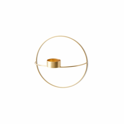 POV Circle Tealight Candleholder, Small, Brass