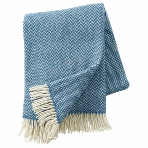 Klippan Pulse Brushed Merino & Lambs Wool Throw, China Blue