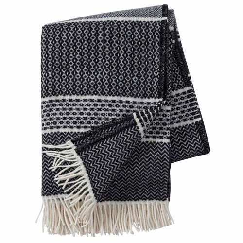 Quilt Brushed ECO Lambs Wool Throw, Black