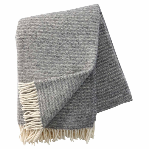 Klippan Ralph Brushed ECO Lambs Wool Throw, Light Grey