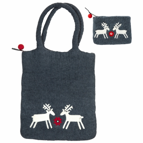 Reindeer Felted Wool Bag and Purse Set