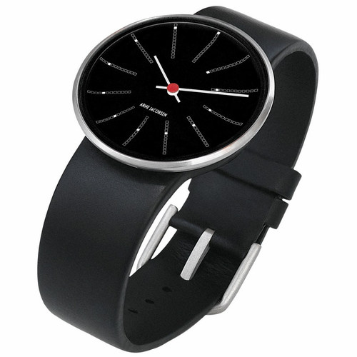 "Rosendahl Arne Jacobsen Watch - Black Banker Dial & Black Calf Skin Band  (1.6"" Dia.)"